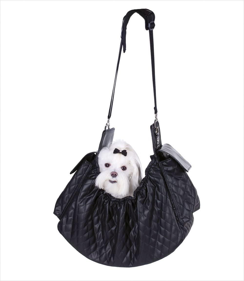 Petote Gigi Sling Pet Carrier, Black Quilted