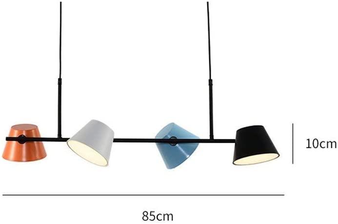 BOSSLV Minimalism Chandelier Parlor Dining Hall Bedchamber Study Pendent Lamp 4-Lights Creative Personality Iron Metal Decorative Hanging Lamp L85Cm H10Cm Warm Light 3000K
