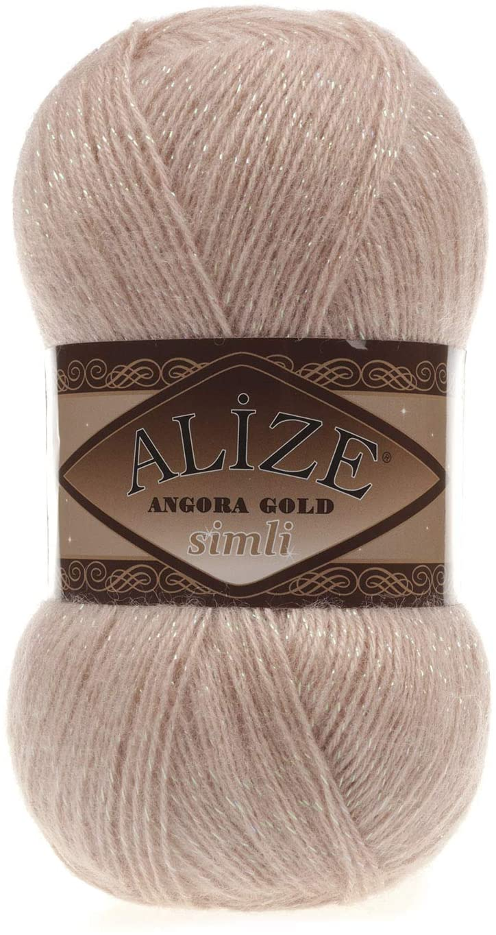 Wool Yarn Alize Angora Gold Simli Thread Crochet Lace Hand Knitting Turkish Yarn Lot of 4skn 400gr 2188yds Color Champagne 404