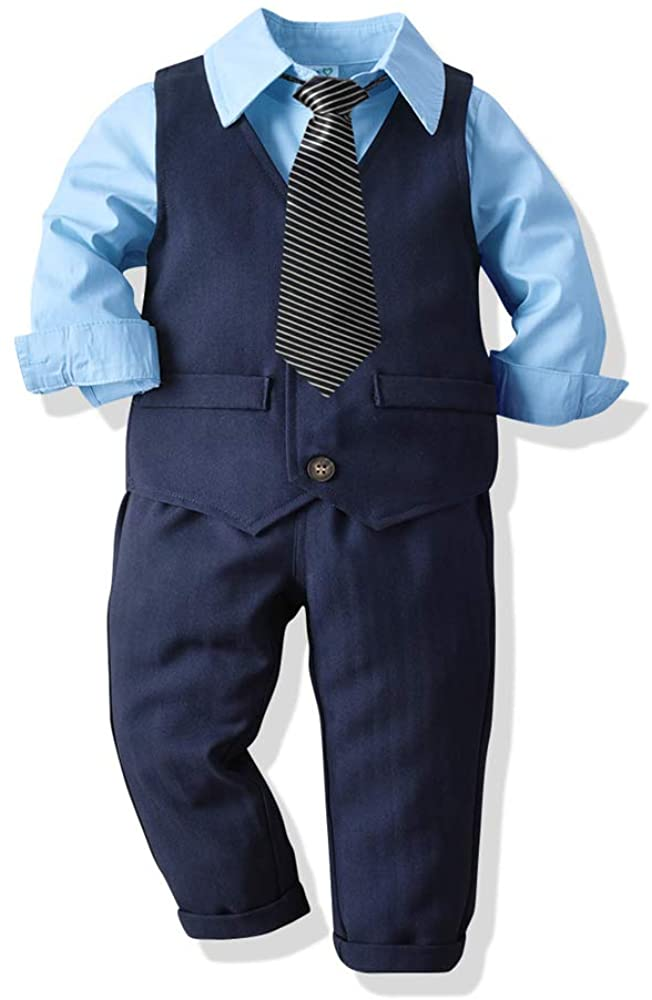 Boys' Button Down Polyester Casual Dress Shirt Slim Fit 4pcs Outfits Shirts & Vest & Pants & Tie