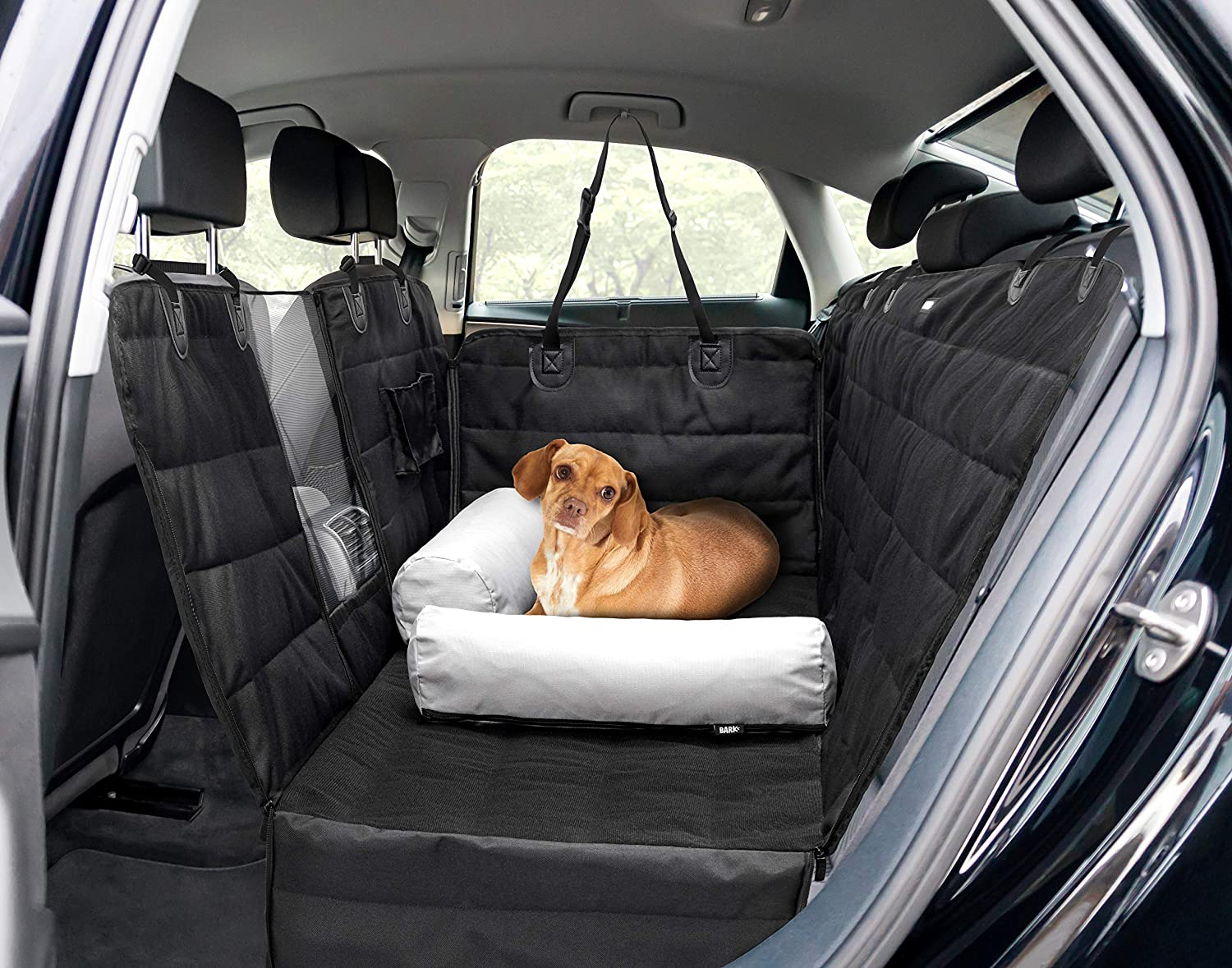 Barkbox 2-in-1 Car Seat Cover/Pillow Set for Dogs   Hammock & Bed, Durable, Waterproof, Non-Slip Pet Accessory   Standard Size for Back Seat of Cars, Trucks & SUVs   Includes Seat Belt & Storage Case
