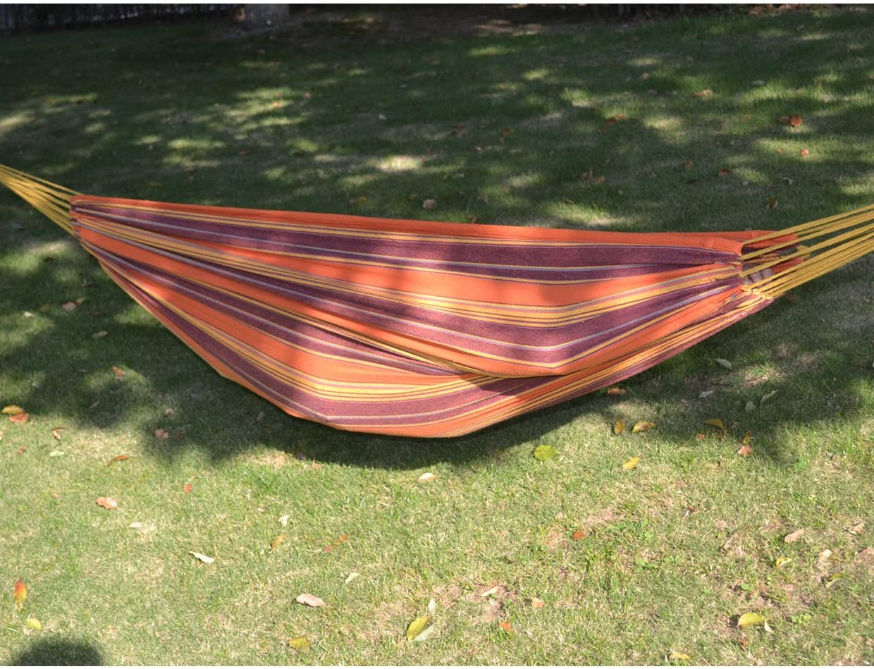 79 55 Hammock Double Size Quilted Fabric Sleep Bed W/Pillow-Stripe-Purple-Orange