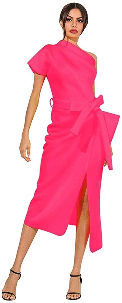 LINKIOM Fashion Women Solid Skew Collar Ruffles Split Bowknot Bandage Dress Long Dress