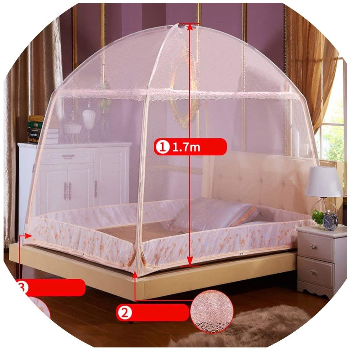 OH WHY Portable Folding Mosquito Net Summer Yurt Net for Single Double Bed 5 Colors Mesh Netting Tent for Adults Mosquiteiro Canopy Net,Jade Pink,1.8x2.2m Bed