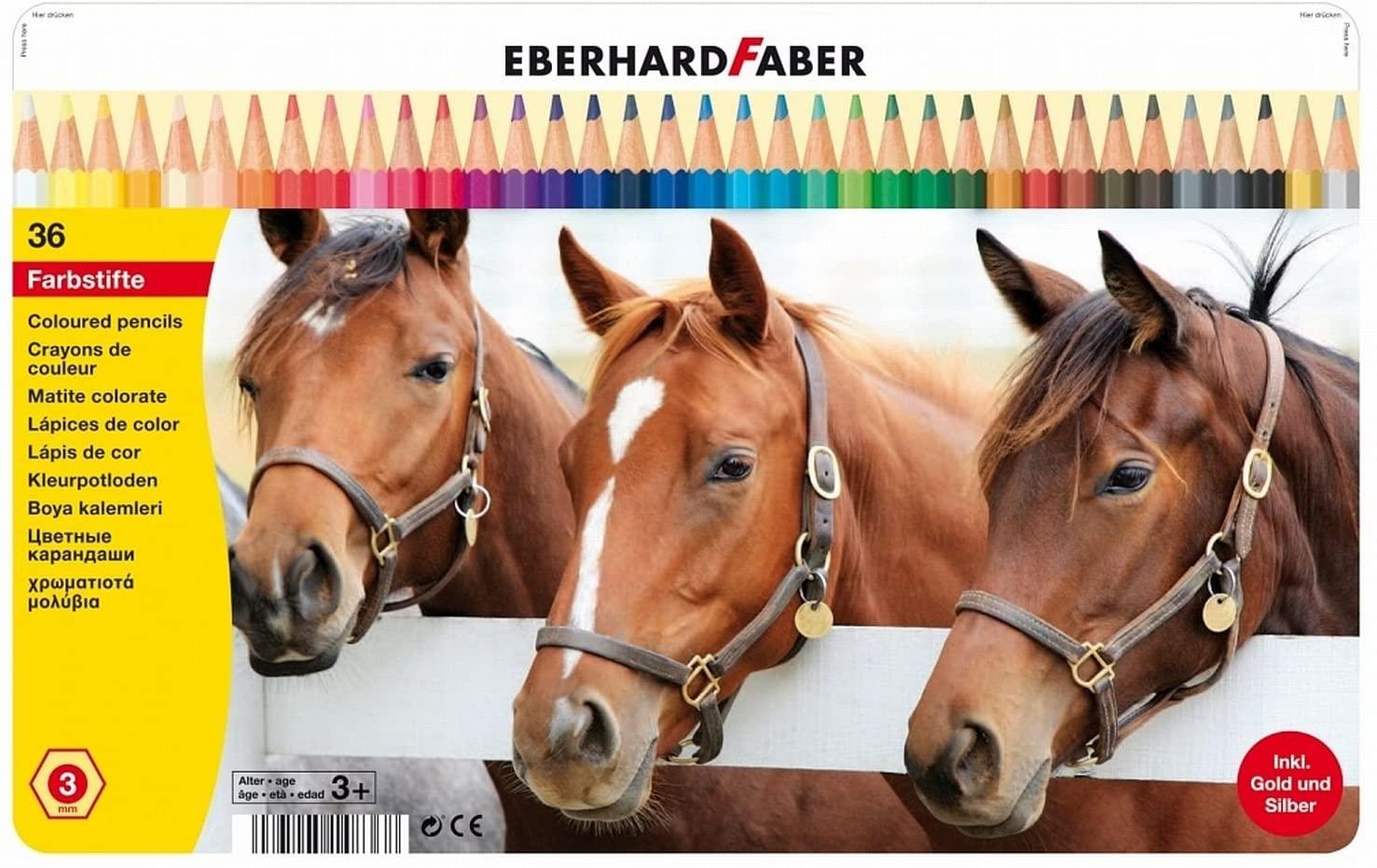 Eberhard Faber 514836Colouring Pencil, Hexagonal, Pack of 36, Tin Case
