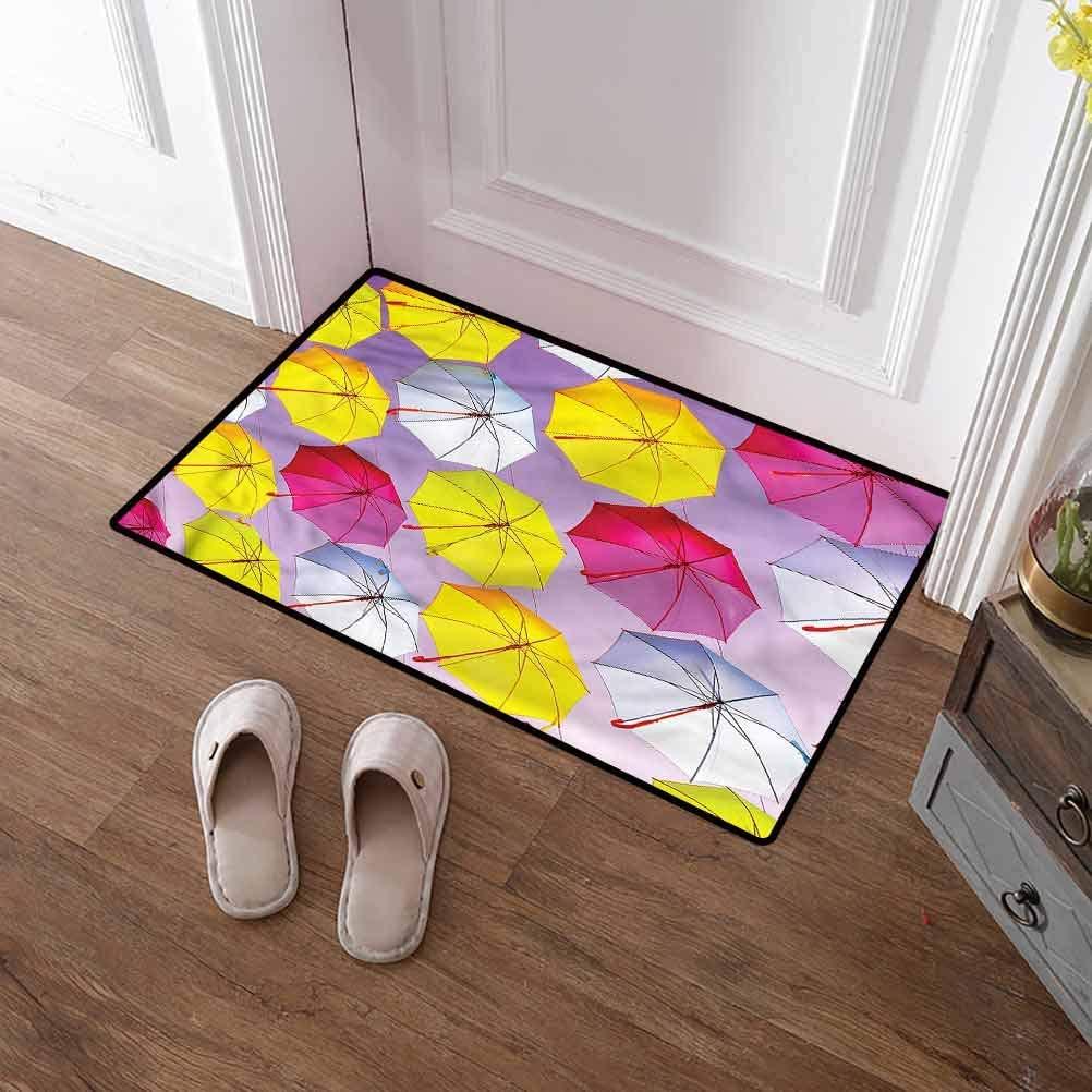 SCOCICI1588 Pet Mat Colorful, Circular Romantic Design Washable Indoor Outdoor Carpet No Odor Durable Anti-Slip 35 x 59 Inch