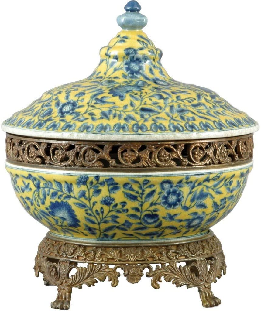 1pc Hand Painted Porcelain Tureen With Bronze Ormolu