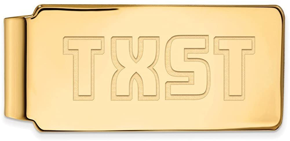 Logoart Sterling Silver Gp Texas State University Money Clip