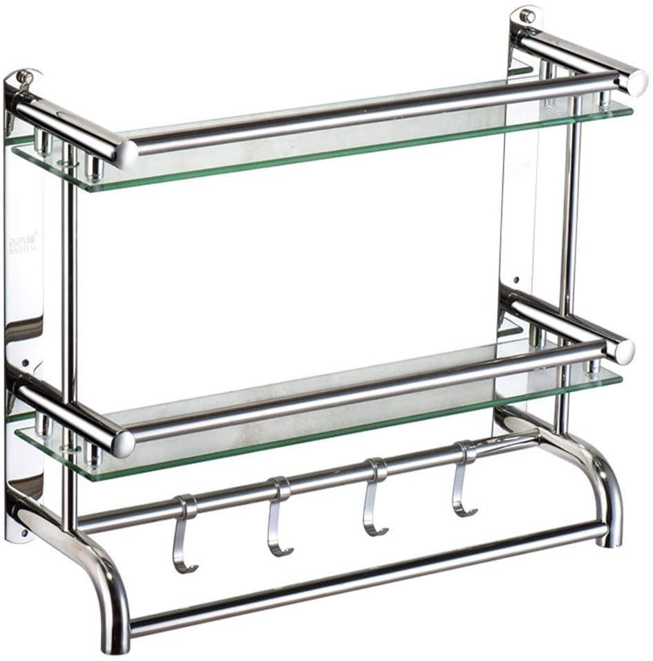 Mr. Bathroom Bathroom Shelves Shower Organiser Tempered Glass 1/2/3 Tiers Towel Racks Wall-Mounted Storage Rack, 3 Sizes (Color : C, Size : 60cm)