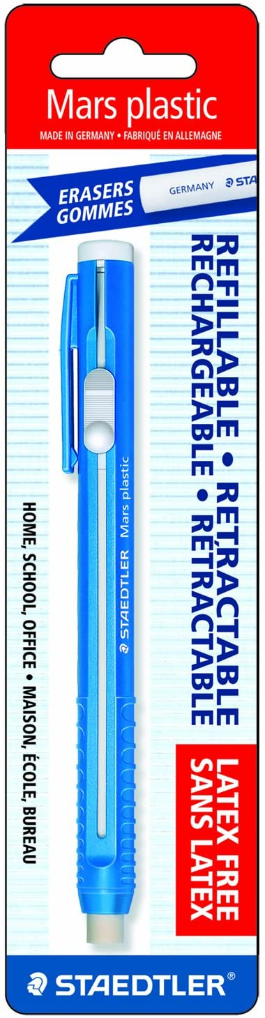 Staedtler Mars Plastic Eraser Refillable Holder, Includes Eraser (52850BK),Blue