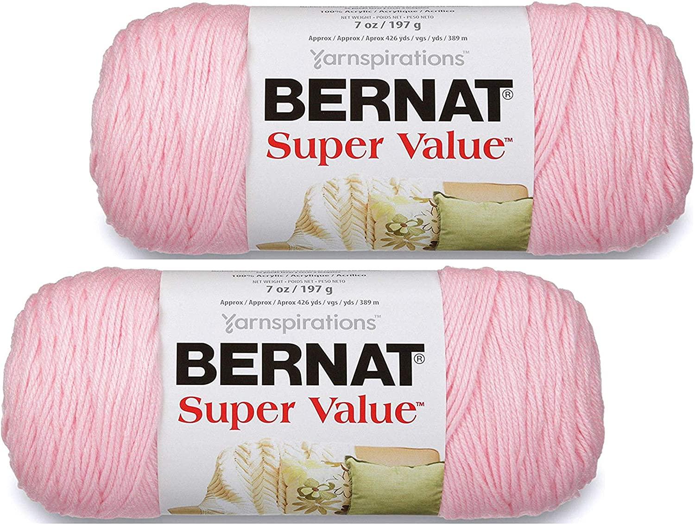 Bernat Super Value Yarn - 7 oz -Baby Pink - 2 Skein Bundle - Total of 2 Skeins
