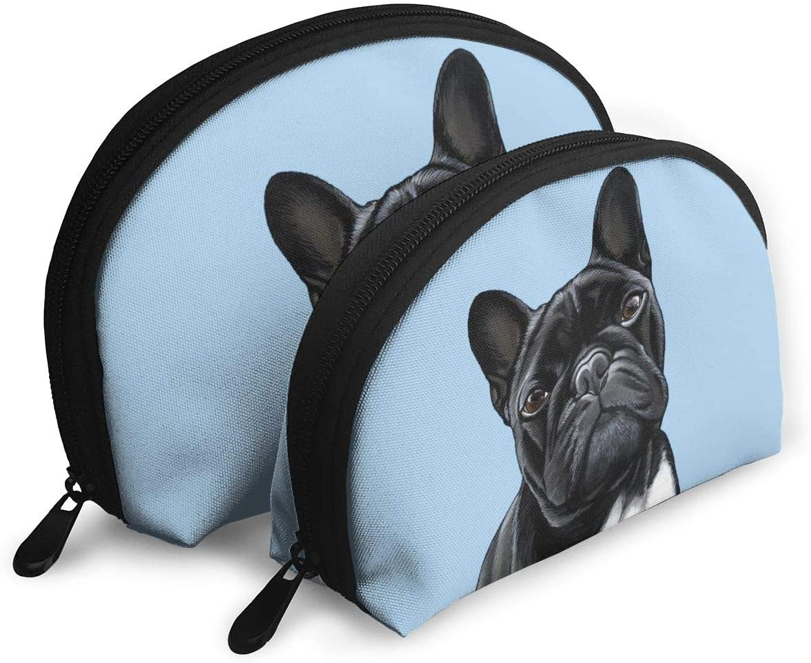 2Pcs Shell Makeup Bags British Black Bulldog Travel Portable Toiletry Bags Small Makeup Clutch Pouch