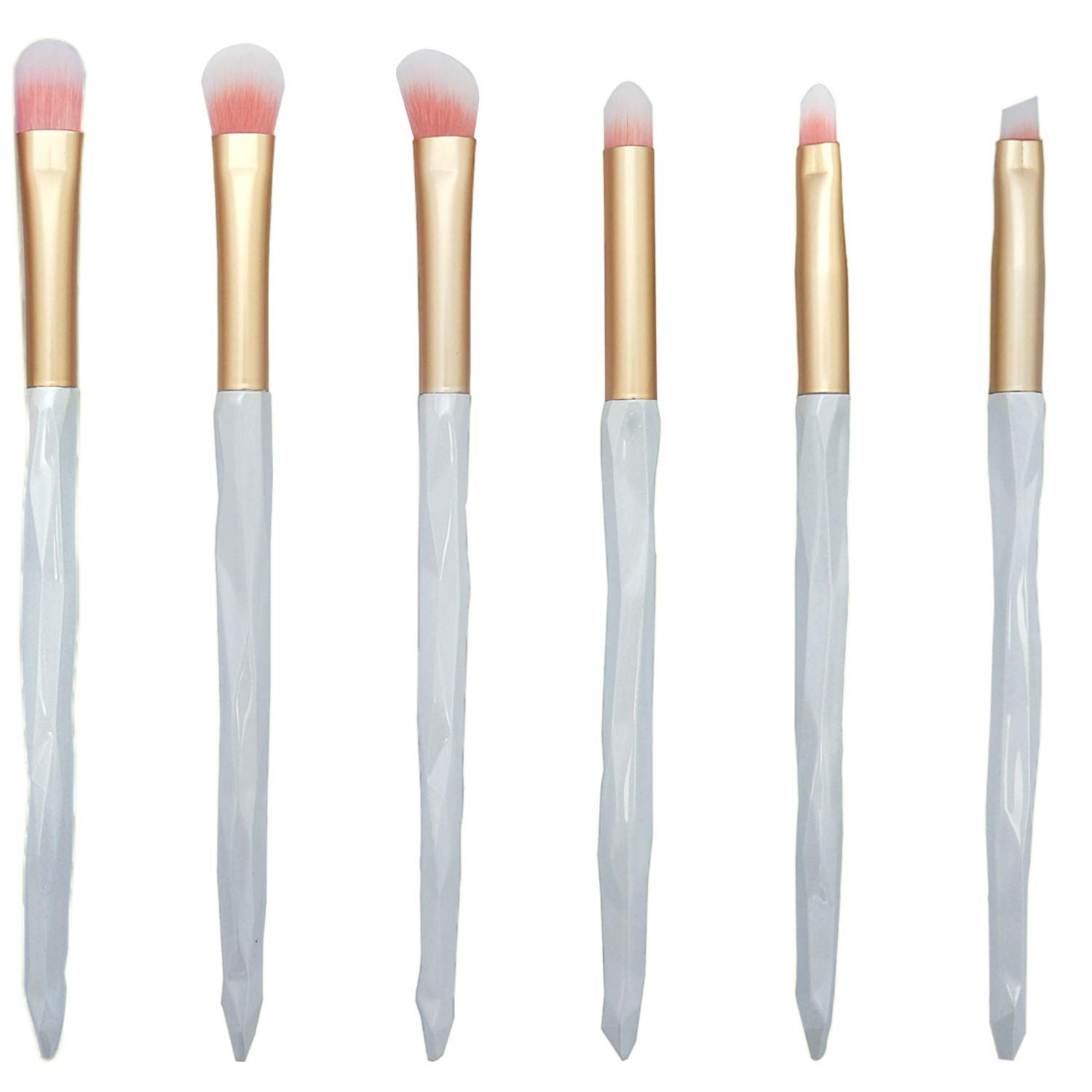 LOVCHU 9 Pieces White Professional Eye Makeup Brush Set for Eyeshadow Cream Powder with Cosmetic Bag - Perfect for Blending Eye Highlighting and Shading Cosmetics Make Up Tool