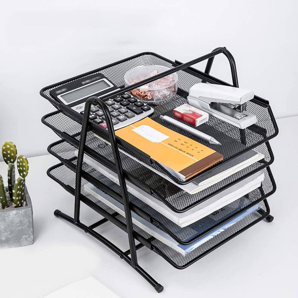 Mesh Desktop Organizer Mesh File Rack File Holder Data Basket Storage Frame Organizing Shelf Metal File Box Office Desktop Data Rack File Basket File Cabinet Disk