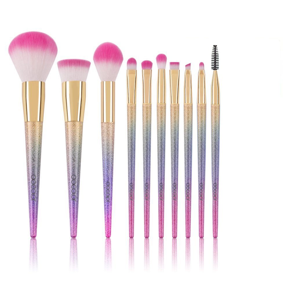 Docolor Makeup Brushes 10Pcs Make Up Brushes Set Face Powder Foundation Blending Blush Concealer Eye Shadow Cosmetics Brushes Kit with Rainbow Box