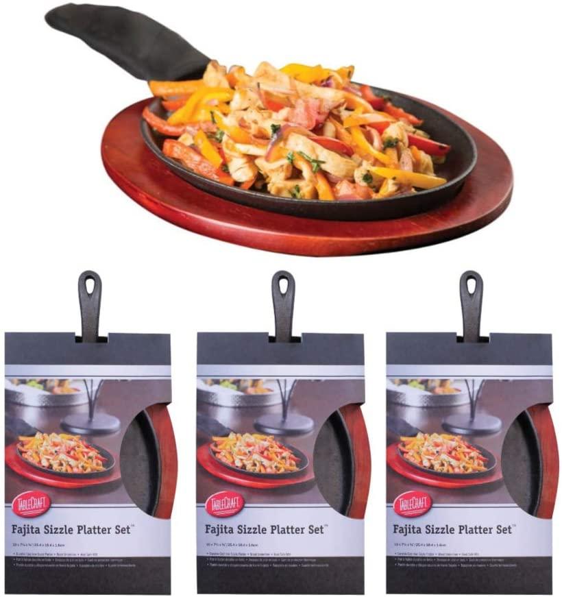 TableCraft Fajita Sizzle Platter Set of 4 (Includes Skillet, Liner, Glove)