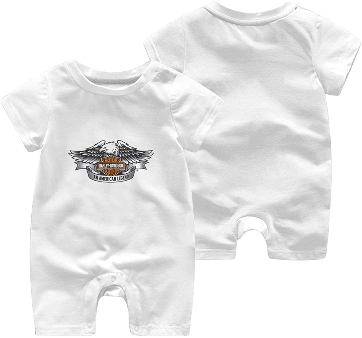 Harley Davidson One Piece Outfits Baby Solid Color Rompers with Button Kids Short Sleeve Playsuit Jumpsuits Cotton Clothing 0-3 Months White