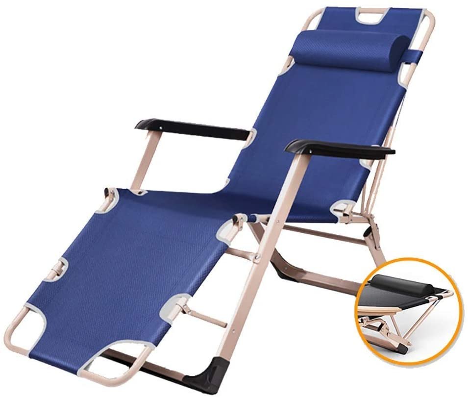 DBWIN Recliners Heavy Duty Folding Lawn Lounge Chairs with HeadrestAdjustable Zero Gravity Chairs for Patio Yard Camping BeachSupports 330lbs (Color : Navy Blue)