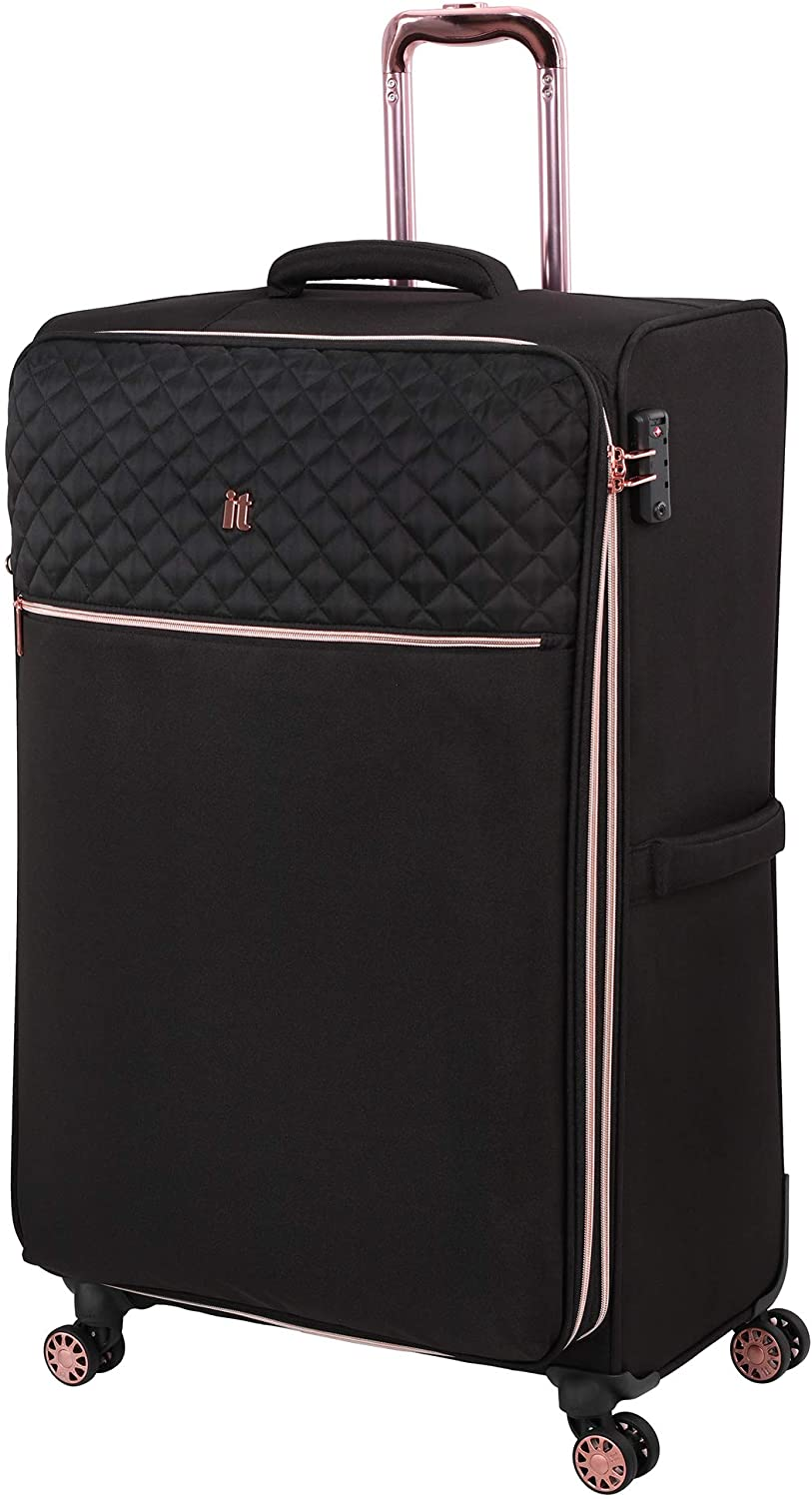 it luggage Divinity Softside Expandable TSA Lock Spinner, Black with Rose Gold Trim, 32-Inch