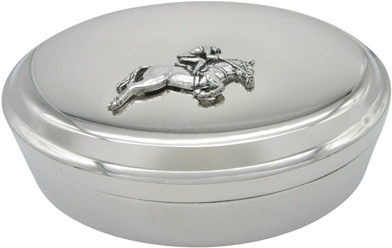 Horse Racing Jockey Pendant Oval Trinket Jewelry Box