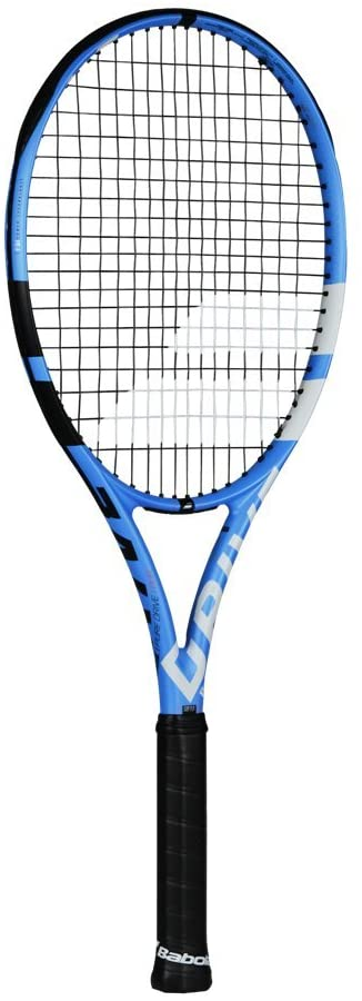 Babolat Pure Drive Tour Plus + Extended Black/Blue/White Tennis Racquet Strung with Custom Racket String Colors (Best Racket for Control and Spin)
