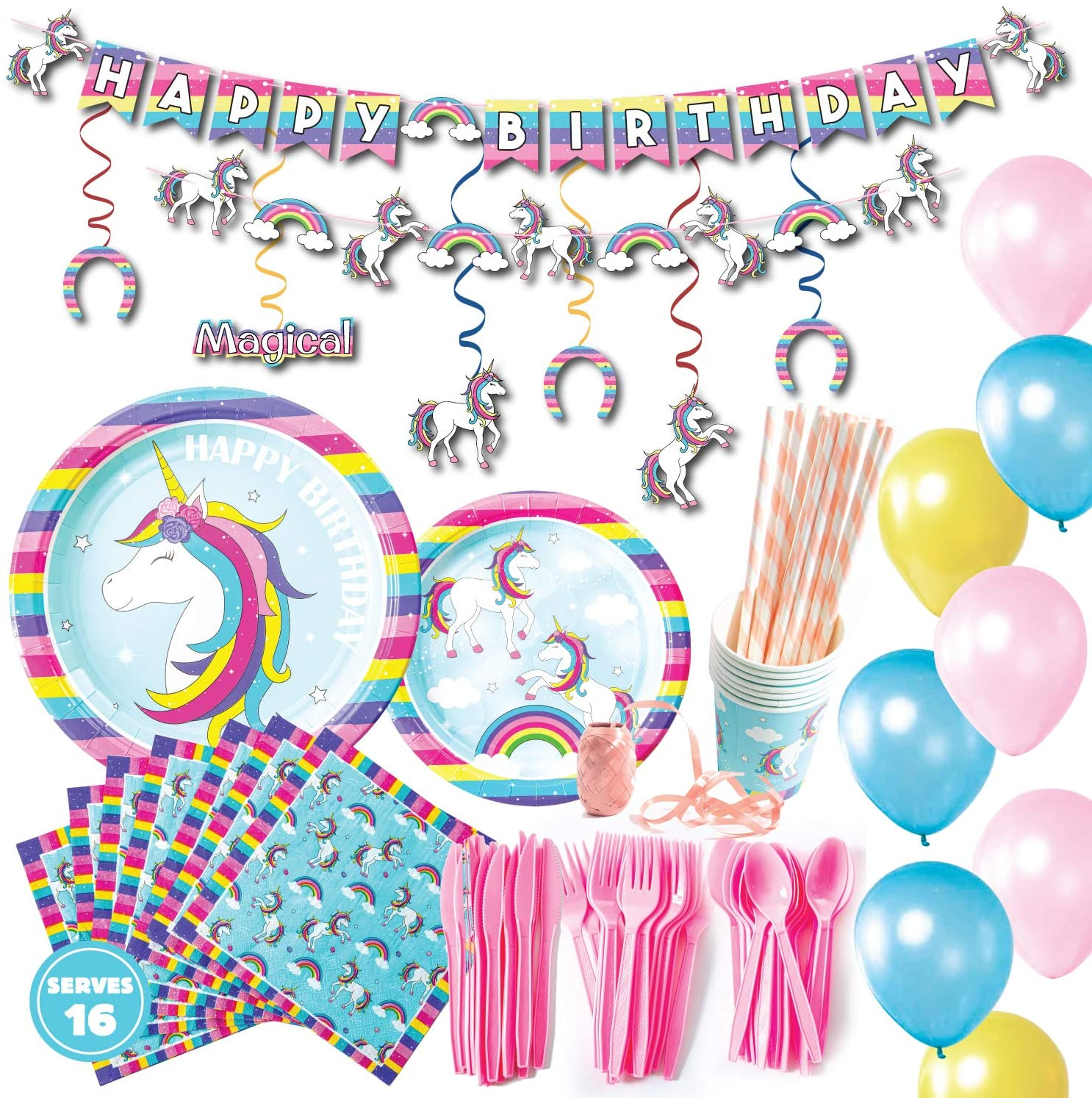 Whoobli Unicorn Birthday Party Supplies (Serves 16), Unicorn Party Supplies incl Plates, Utensils, Cups, Napkins and Unicorn Party Decorations for Little Girls