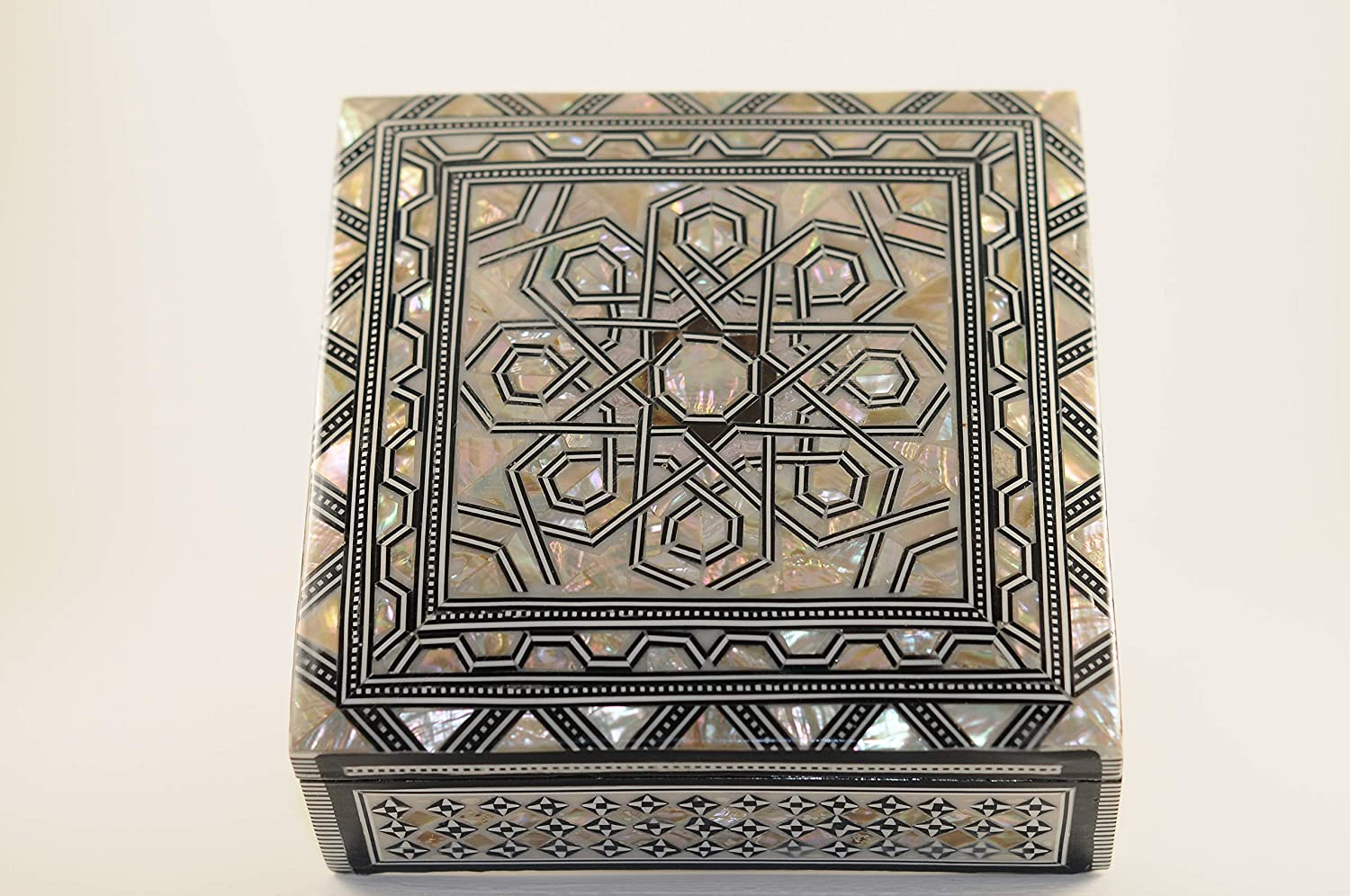 Wonderful Egyptian Handmade Jewelry Box - Beech Wood with Inlaid Mother of Pearl (6 x 6 inches)