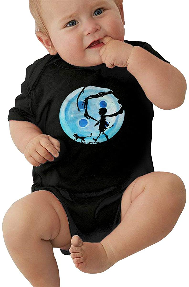 Baby Coraline Blue Full Moon Nightmare Cat Halloween Horror Button Baby Jersey Bodysuit