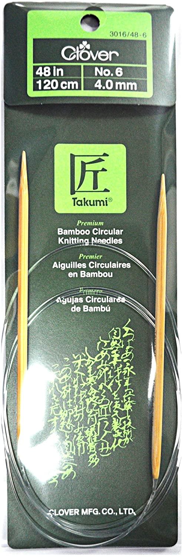 Clover Takumi Bamboo 48 Inch Circular Knitting Needle Size 6