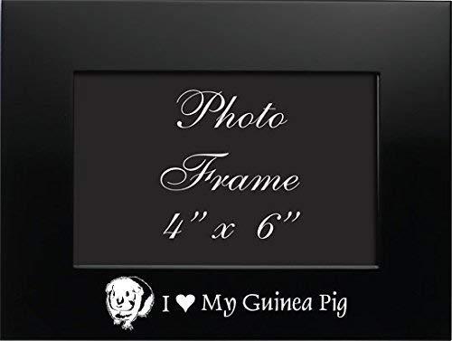 LXG, Inc. 4x6 Brushed Metal Picture Frame-I Love My Guinea Pig-Black