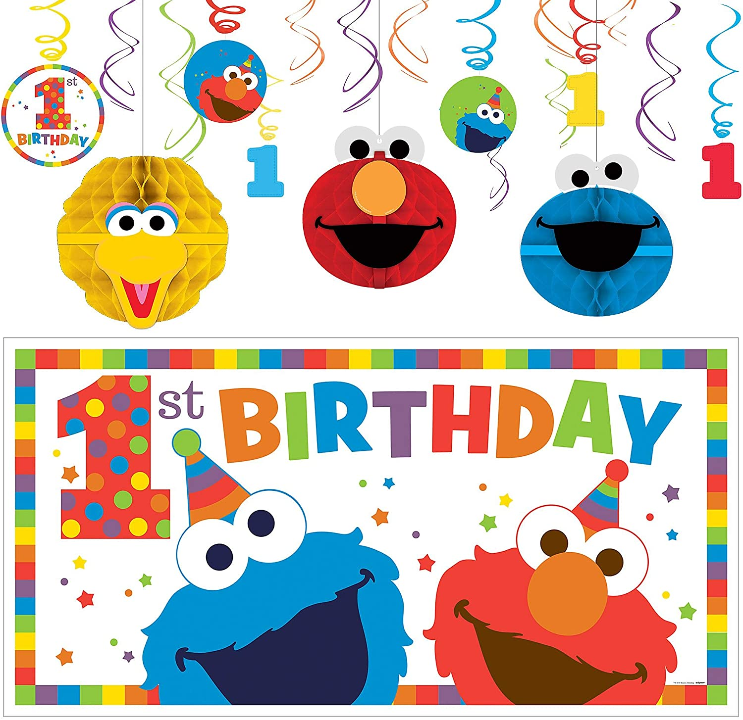 Party City Sesame Street 1st Birthday Elmo Decorating Supplies, Include 12 Swirl Decorations, Honeycombs, and a Banner