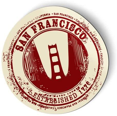 San Francisco Golden Gate Bridge Travel Stamp Design - Flexible Magnet for Fridge, Locker - 5