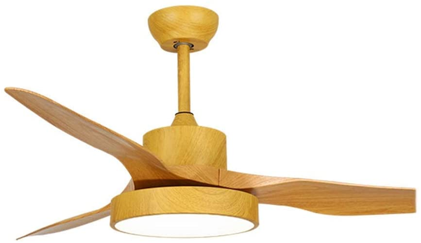 Ceiling Fans with Lamp Simple Fan Chandelier Modern Fan Pendant Lighting Living Room Dining Room Bedroom -Remote Control Switch-Log Color, K-L