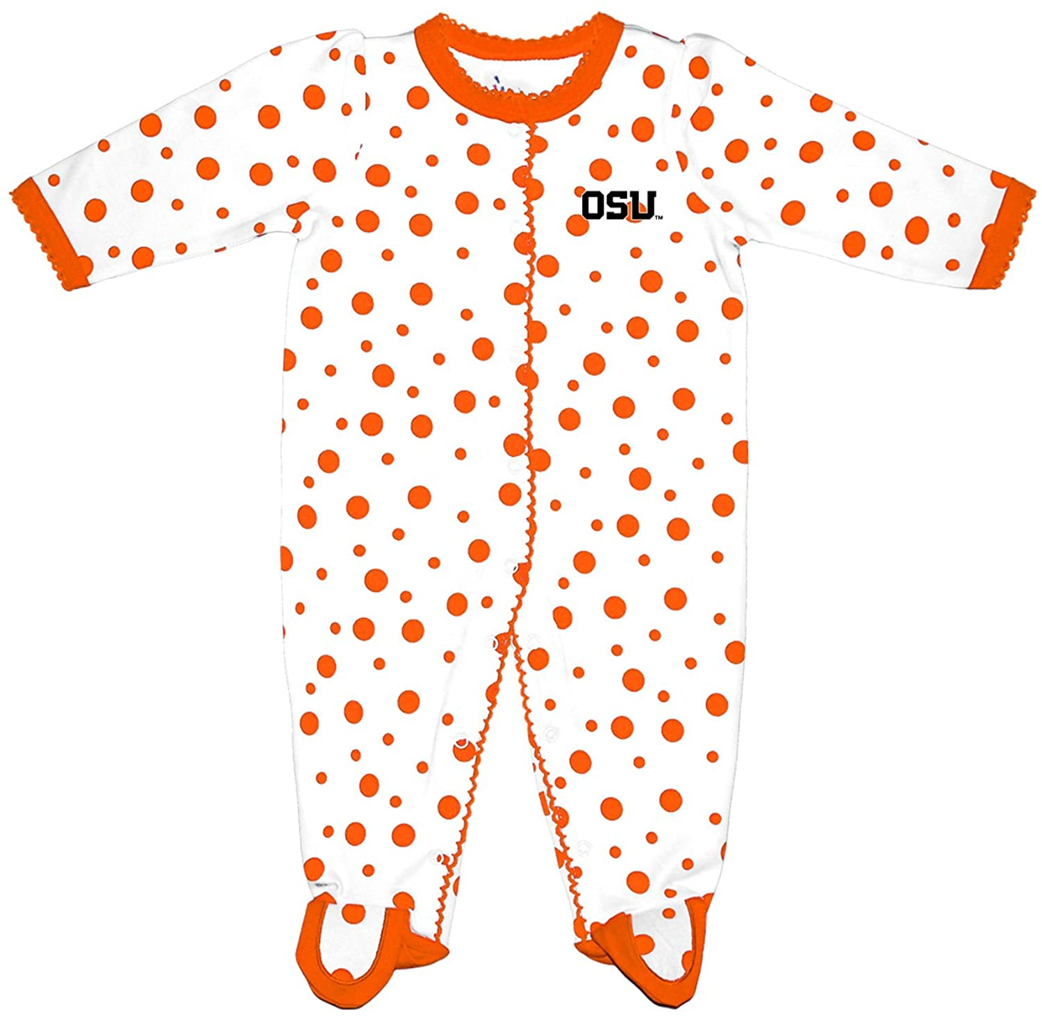Two Feet Ahead NCAA Oregon State Beavers Infant Polka Dot Footed Creeper Dress, Preemie, Orange