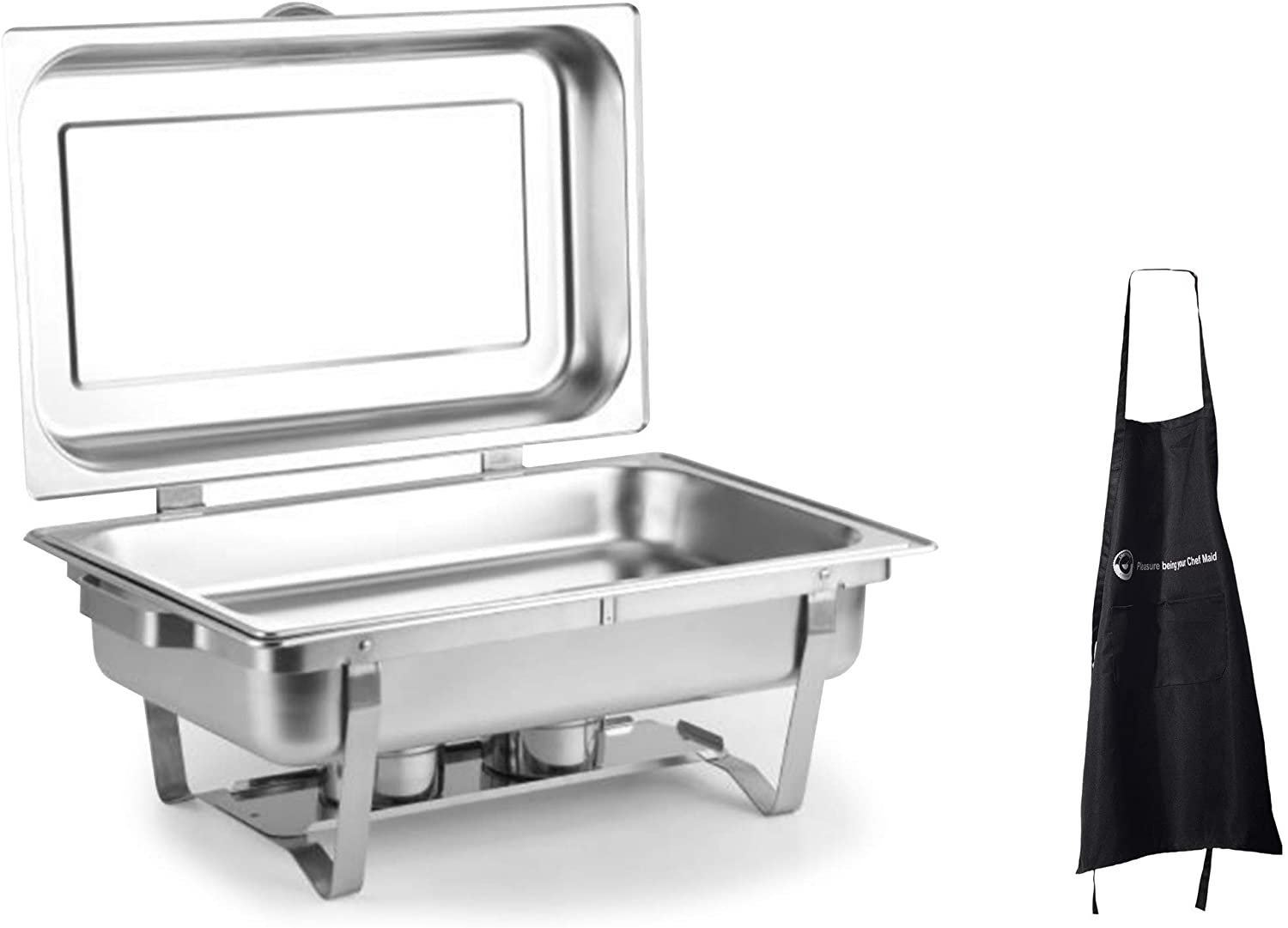 8 Qt Hinged Chafing Dish Foldable Frame Buffet Chafer Stainless Steel Food Warmer And Chefs Apron
