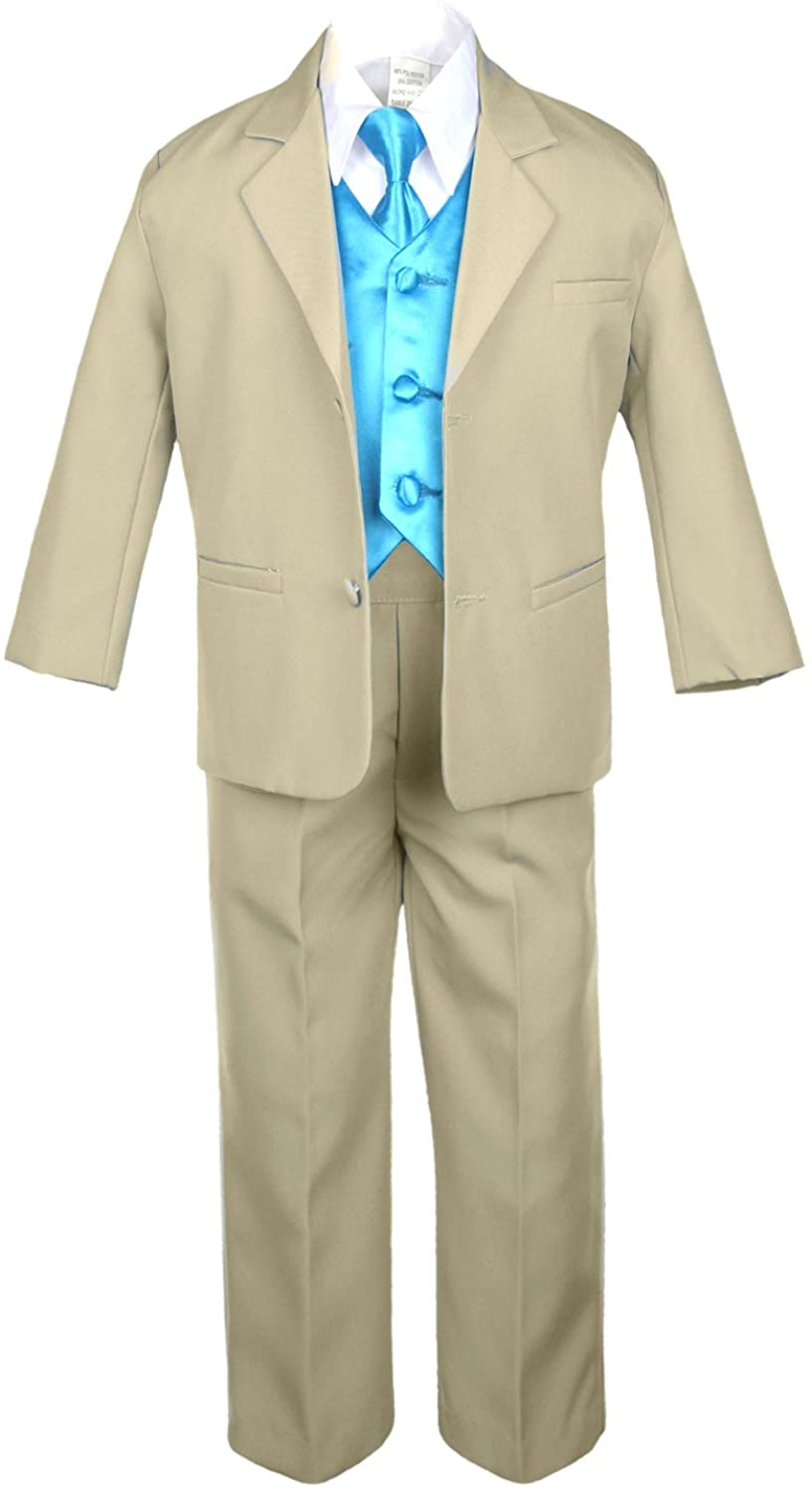Unotux 7pc Boys Khaki Suits with Satin Turquoise Blue Vest Set from Baby to Teen