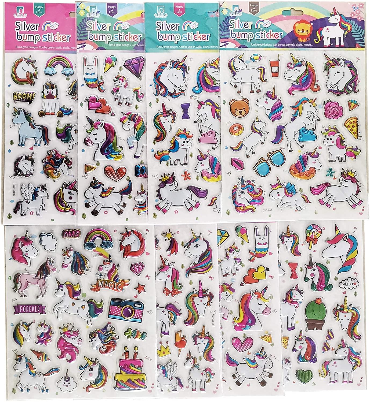 Unicorn Stickers Cool Laptop Scrapbooking Sticker, Birthday Party Present Idea for Children Sticker 8 Sheets ?160+Stickers?