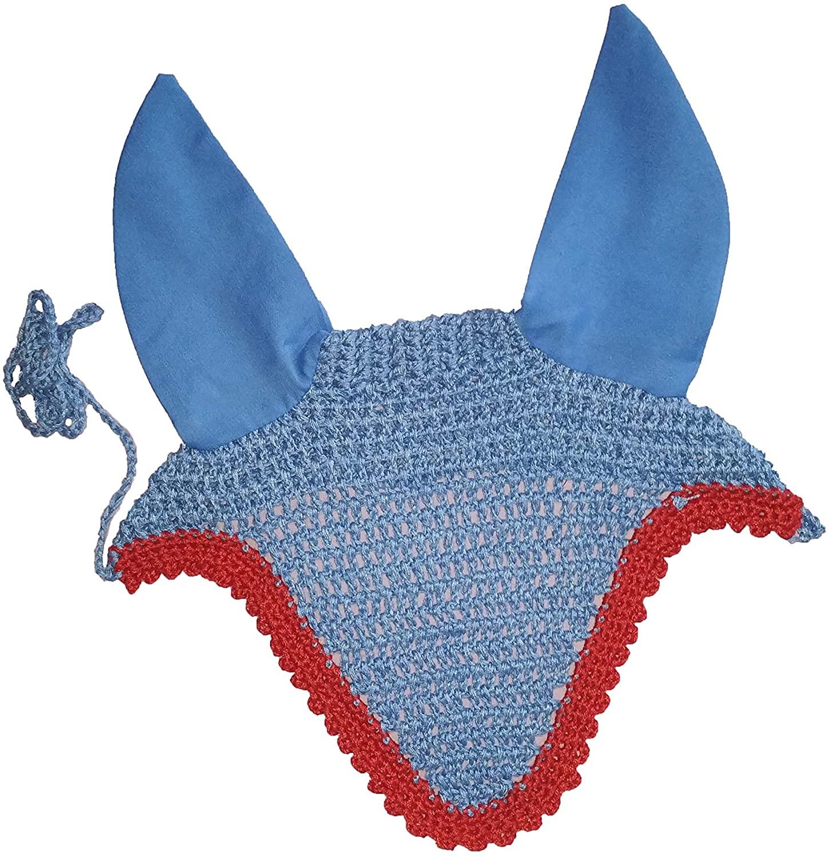 Avani Creations Ad Horse Ear Net Crochet Fly Veil Equestrian Fly Bonnet/Veil/mask Standard Size R Blue with RED Border