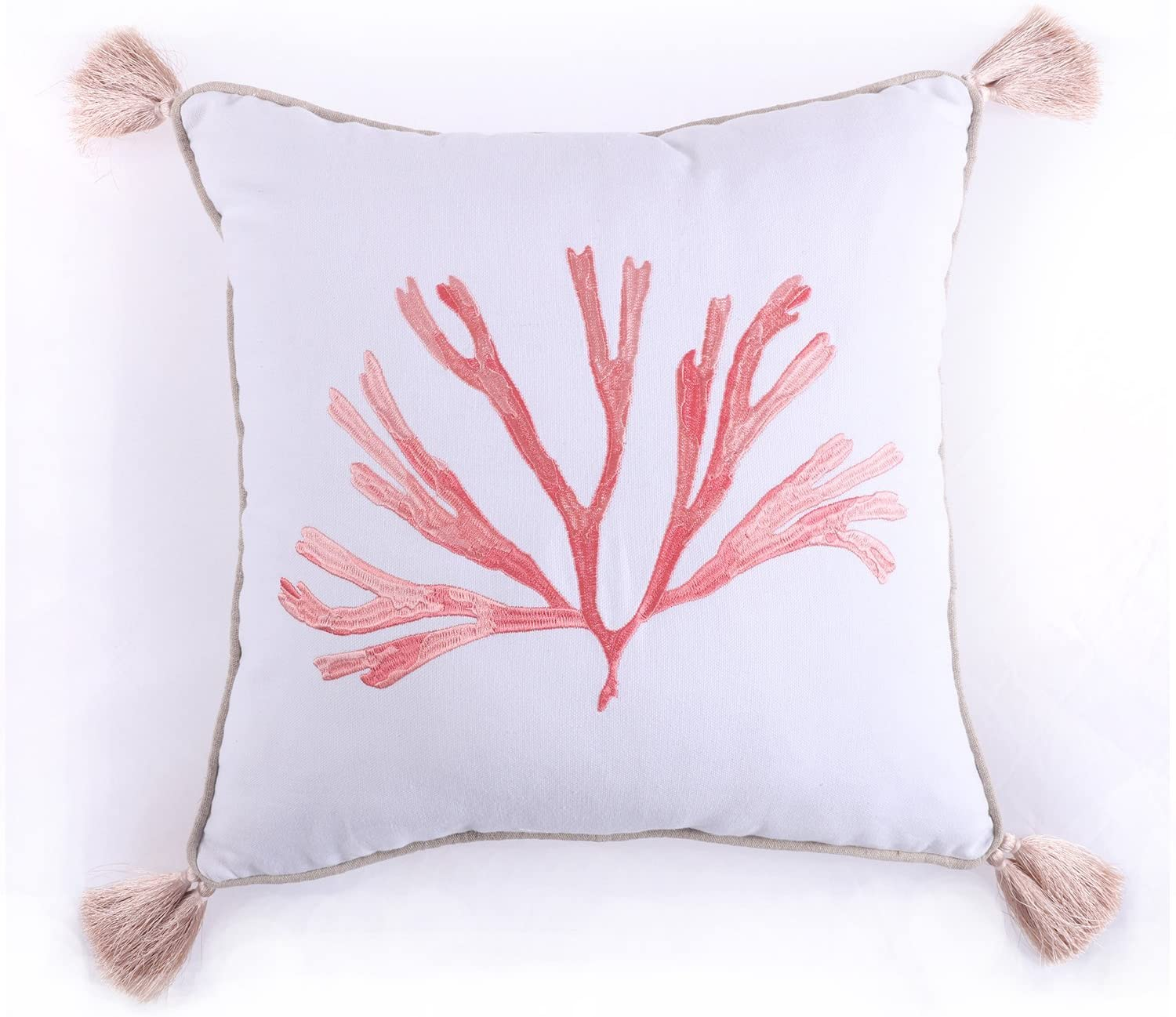 Levtex Embroidered Coral with Tassels Pillow