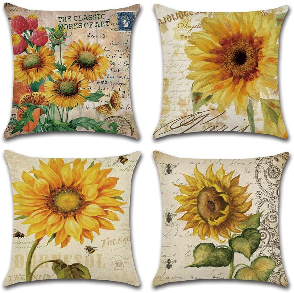 DUSEN Decorative Cotton Linen Set of 4 Throw Pillow Cushion Covers 18 x 18 inch for Sofa, Bench, Bed, Auto Seat (Sunflower Pattern)…