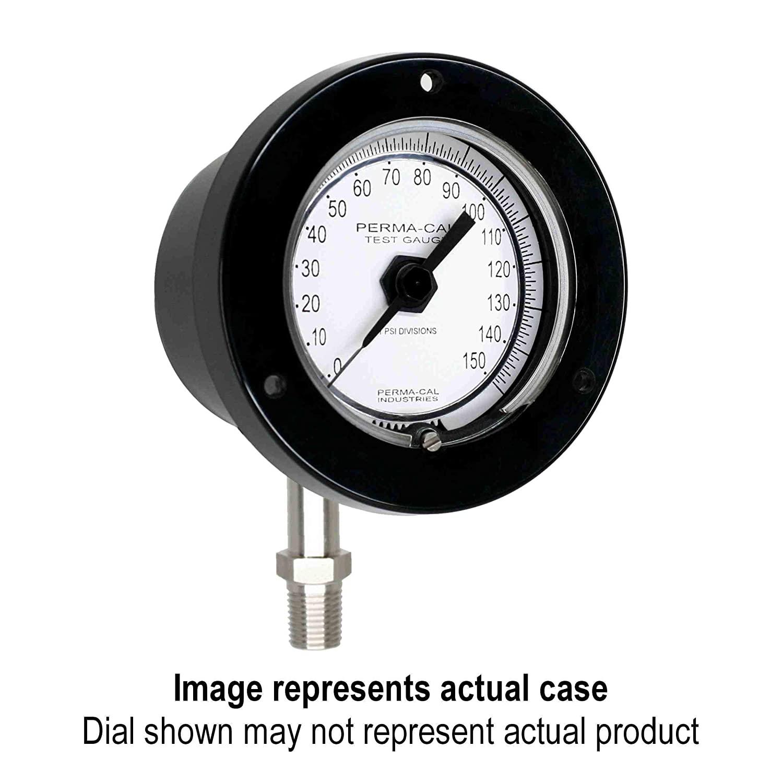 Pressure Gauge, Gearless, Test, 0-3000 psi, 2.5 Dial, Black Front Flange, 1/4 NPT Bottom Mount PN 103FTM14A21