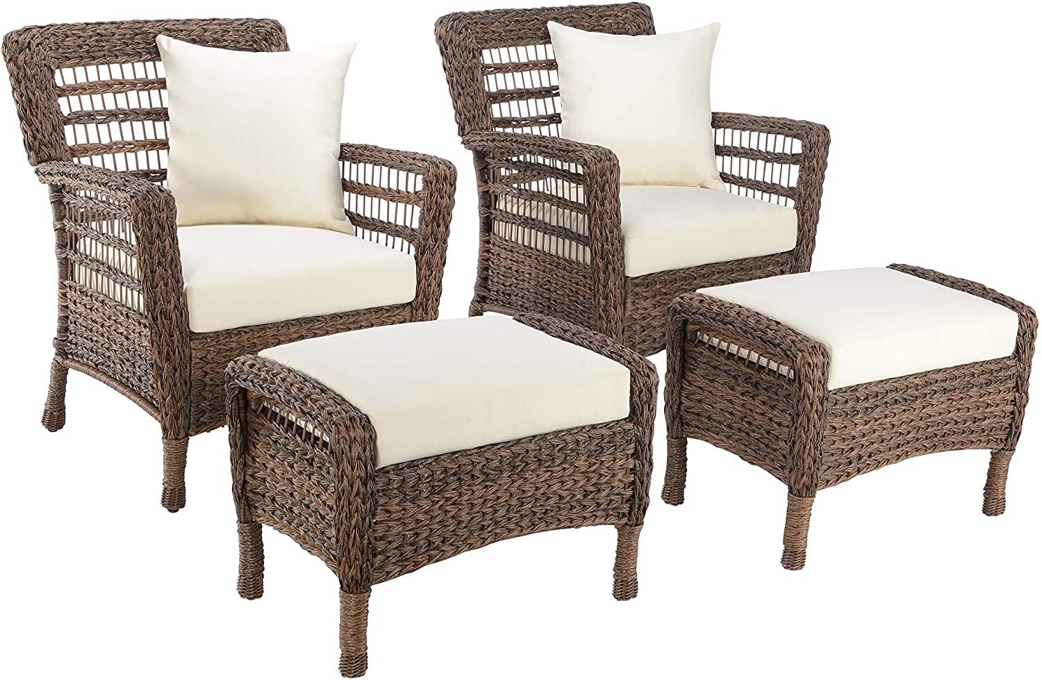 Outdoor Garden Patio Hand Woven Wicker Faux Sea Wrack Brown 2 Chairs Set with 2 Ottomans
