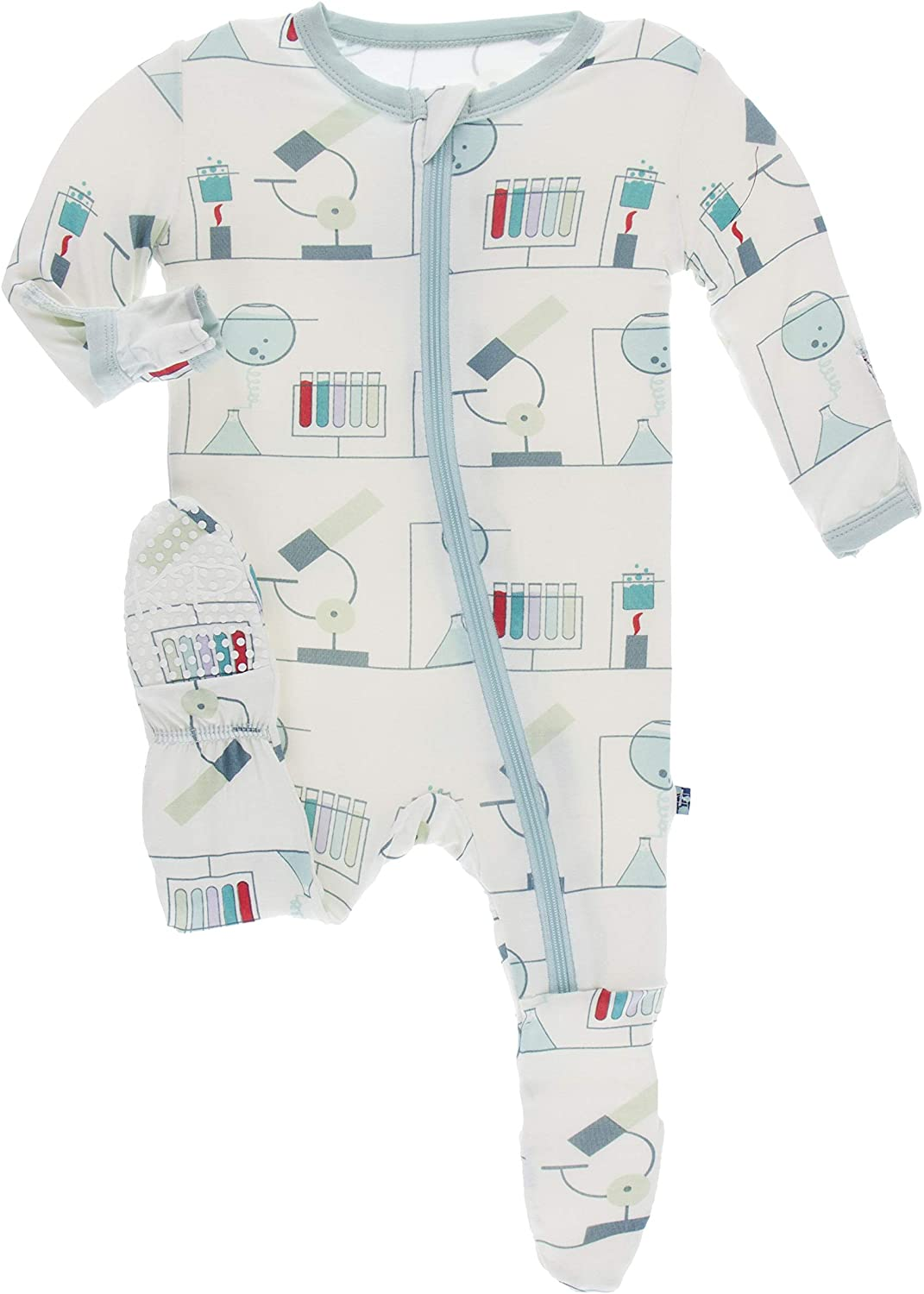 KicKee Pants Print Footie with Zipper (18-24 Months, Natural Chemistry Lab)