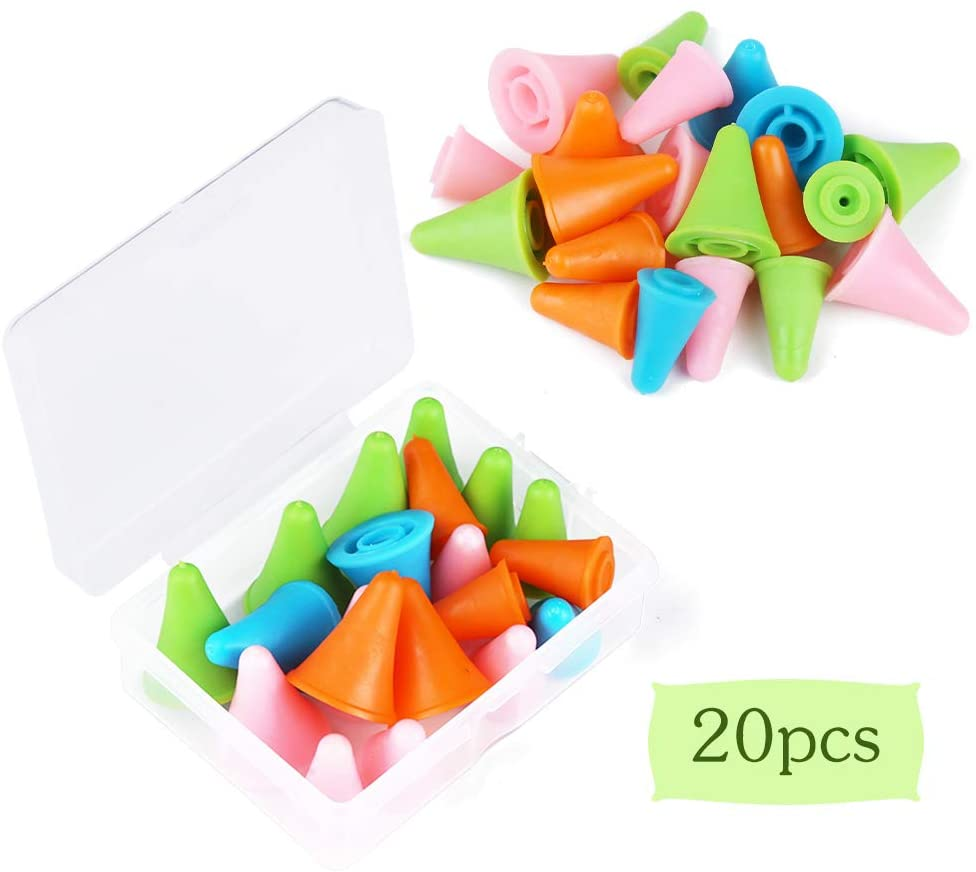 20 PCS Mixed Color Knitting Needles Point Protectors/Stoppers, Include 10 Small & 10 Large, Knit Needle Tip Covers for Knitting Craft