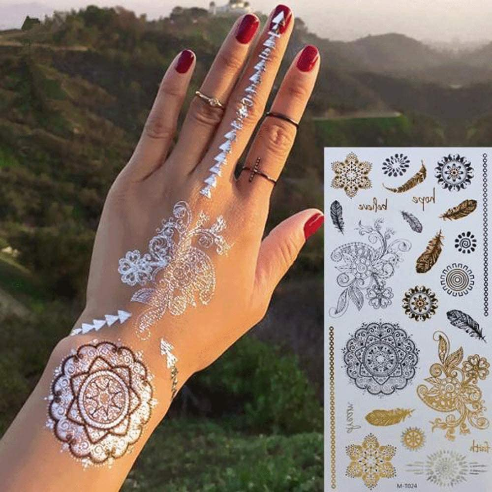 4 Pack Stunning Boho Henna Inspired Gold and Silver Temporary Tattoos, Mandala Mehndi Designs (M-T024)