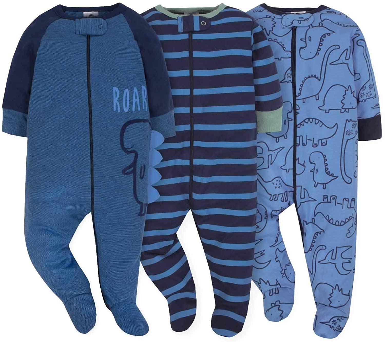 Gerber Onesies Baby Boy Sleep N Play Sleepers 3 Pack (3-6 Months, Dino Roar)