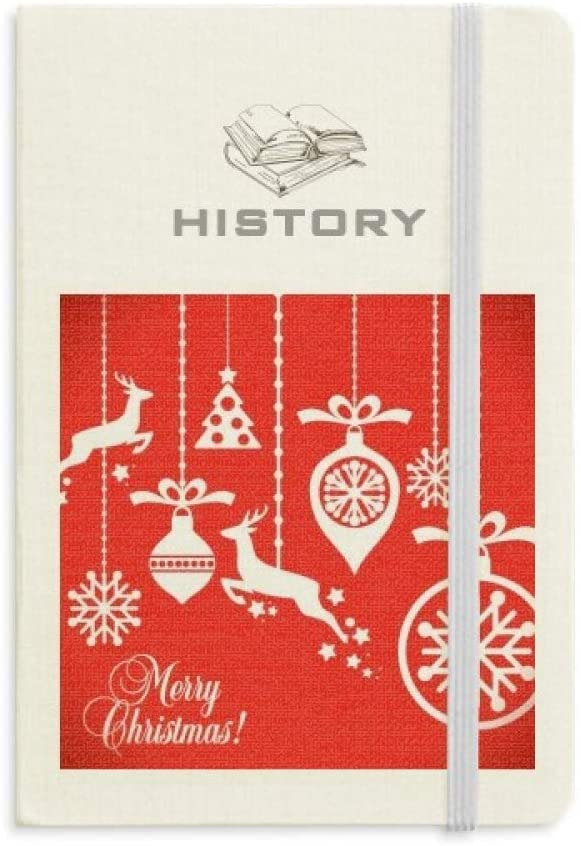 Christmas Elk Bulb Snowflake Tree Festival History Notebook Classic Journal Diary A5