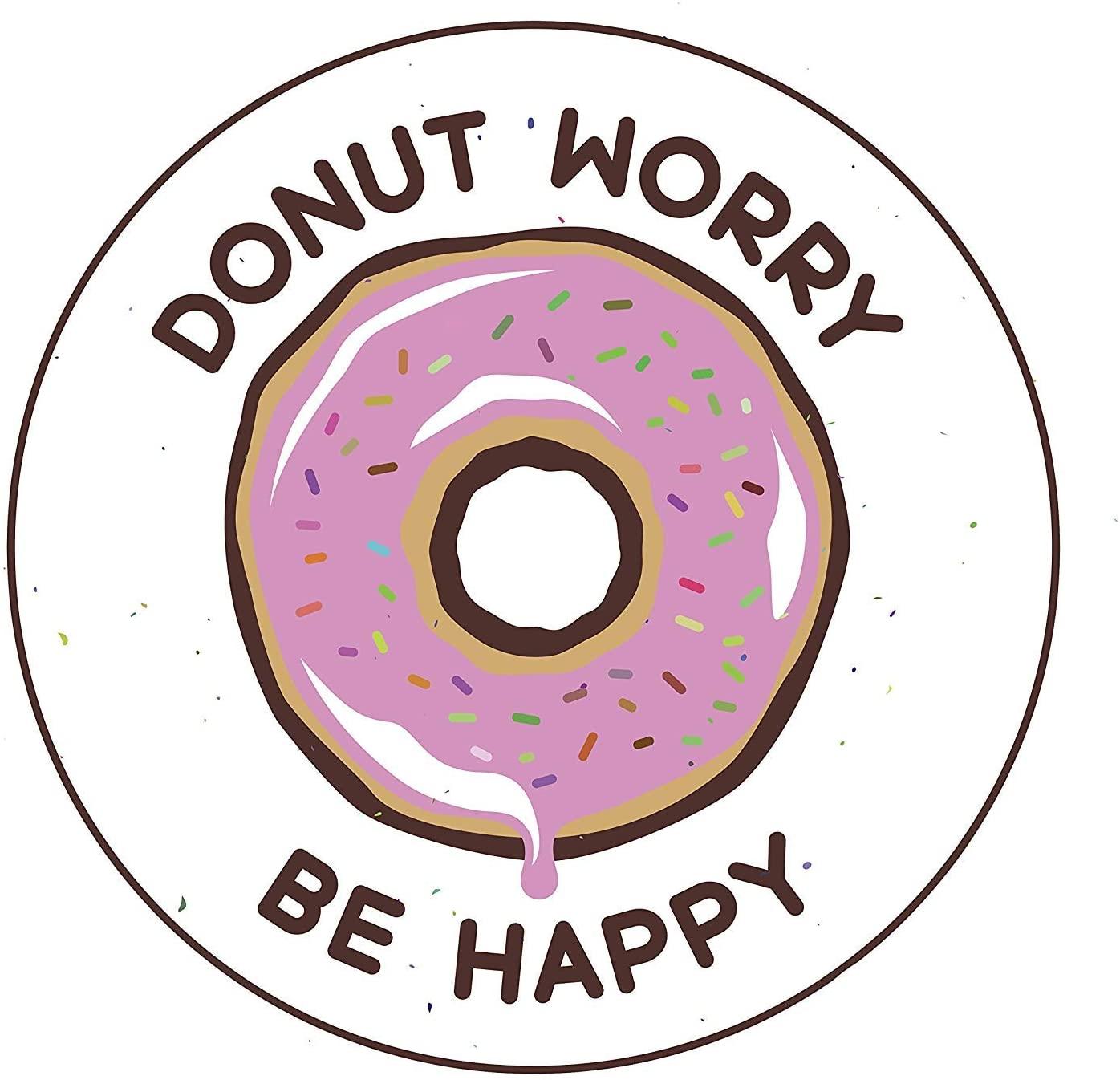 EW Designs Magnet Pink Strawberry Sprinkle Donut Worry Be Happy Pun Magnetic Vinyl Magnet Bumper Sticker (4