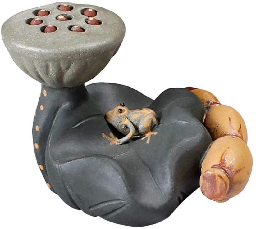 AMITD Zisha Kung Fu Tea Pot Lid Holder Creative Lotus Leaf Frog Tea Pet Tea Tray Decoration Accessories Small Sculpture Craft