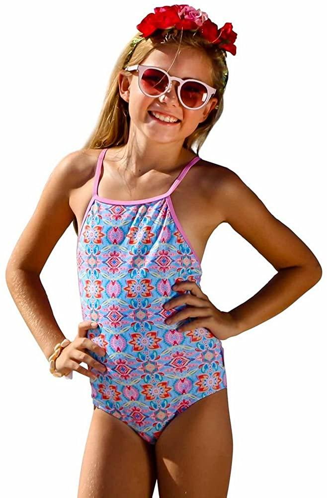 Sun Emporium Little Girls Pink Summer Daze Print Keyhole Back Swimsuit 4-6